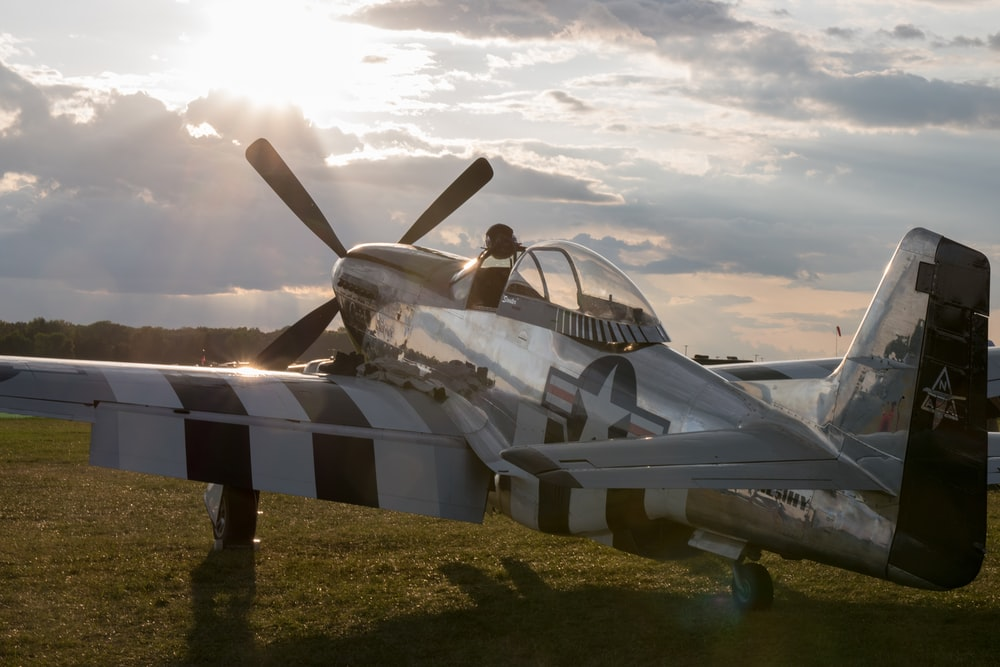 white and black plane on green grass field
