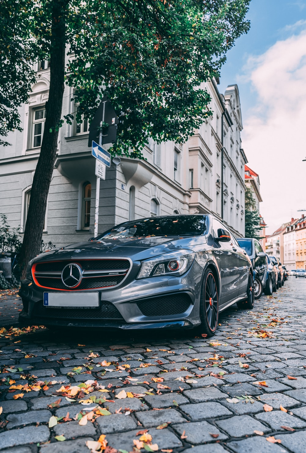 parked gray Mercedes car