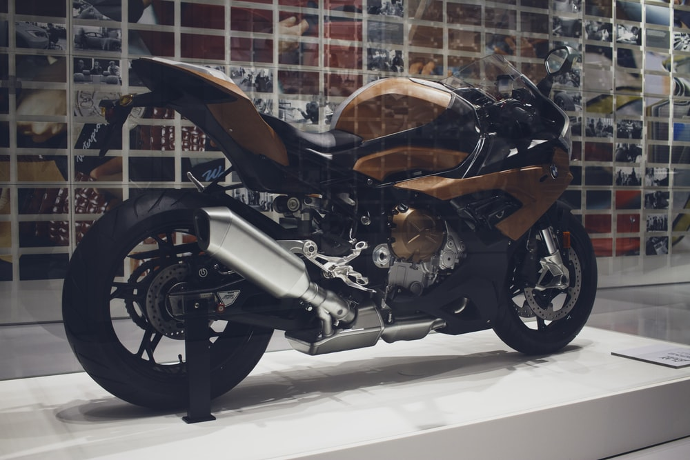 brown and black sport bike