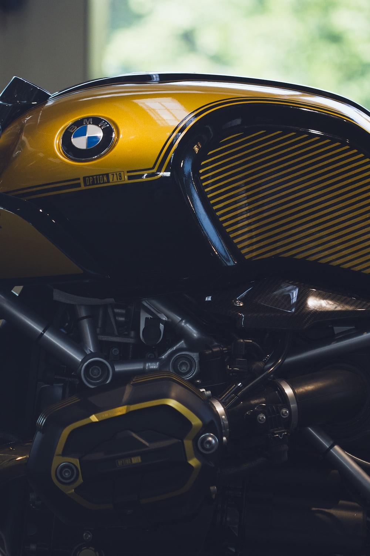 yellow BMW motorcycle