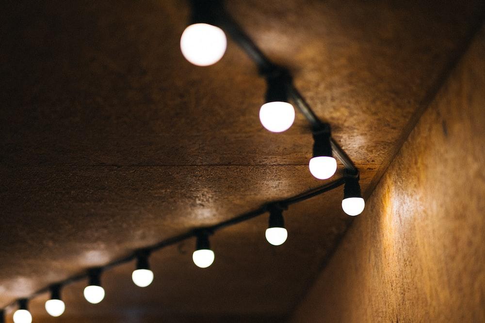 lighted bulbs on ceiling