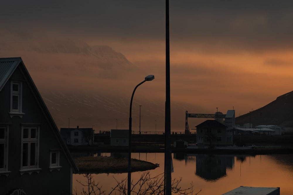 light post beside house