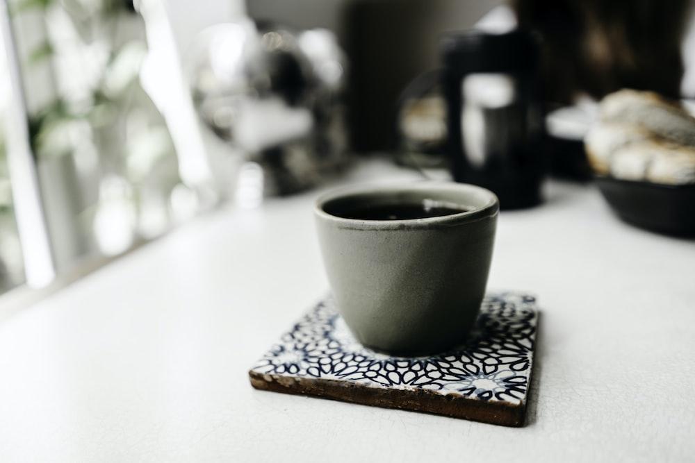 gray ceramic cup