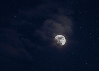 low-angle photography of moon