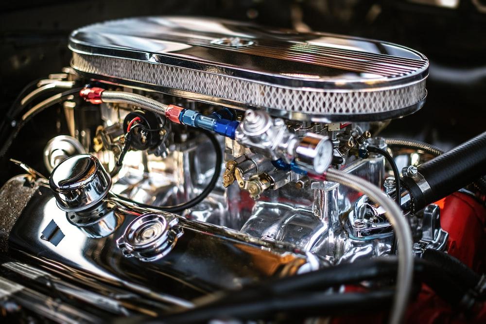 close-up photography of vehicle engine