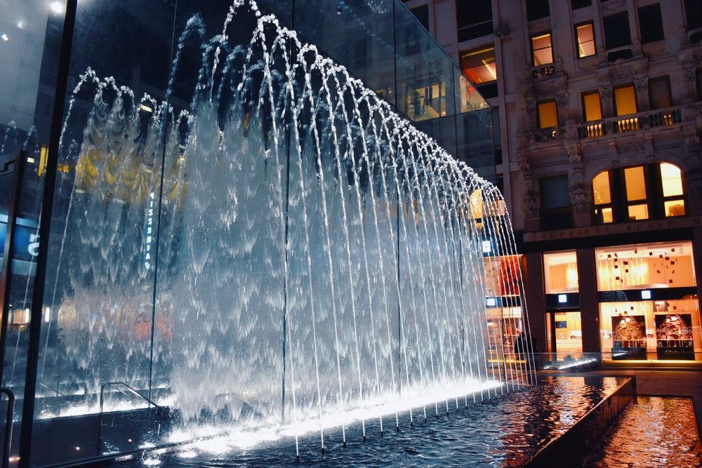 outdoor fountain with lights