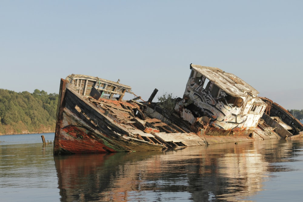 brown and white wrecked ship