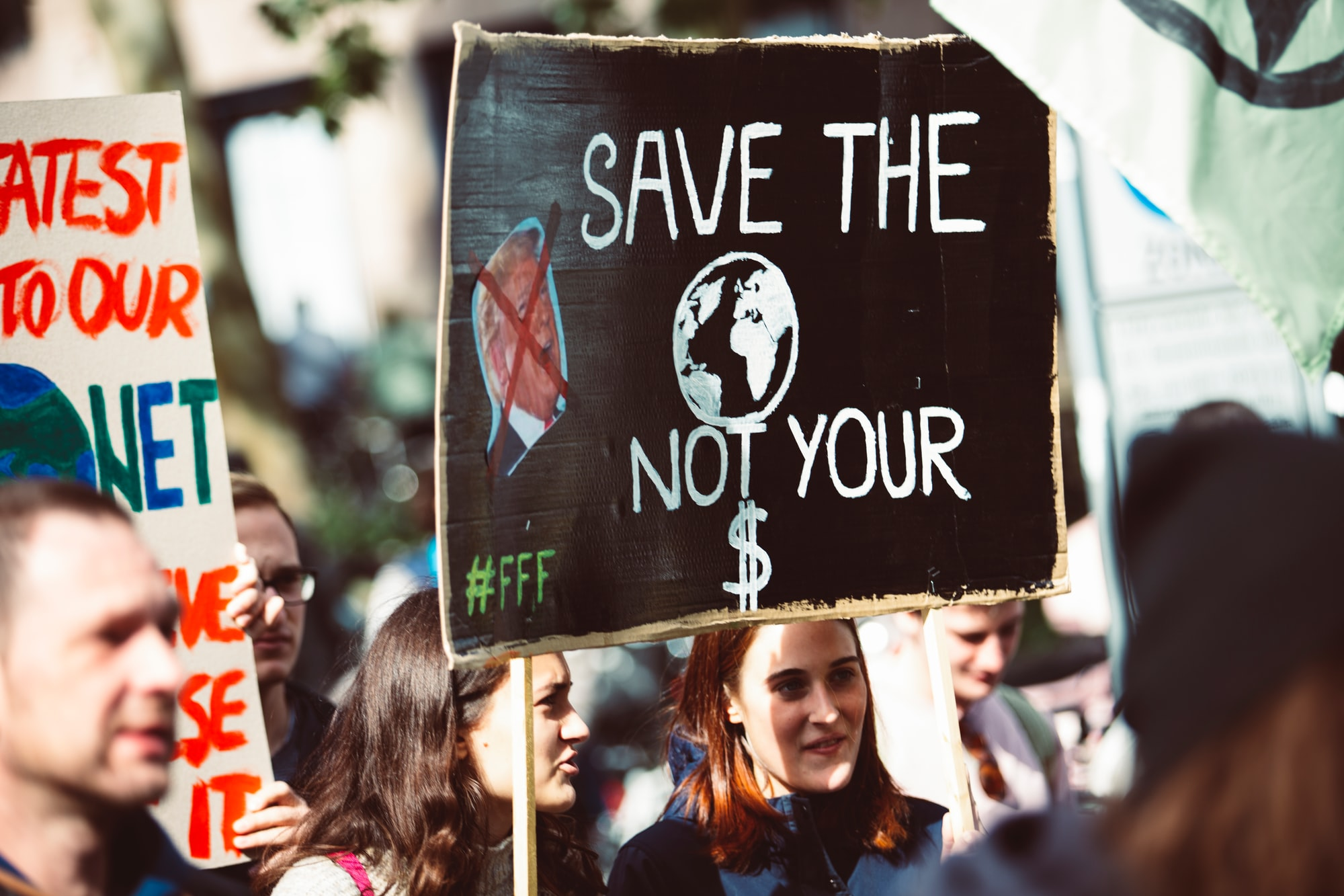 SAVE THE WORLD NOT YOUR $ DOLLARS. Global climate change protest demontration strike - No Planet B - 09-20-2019