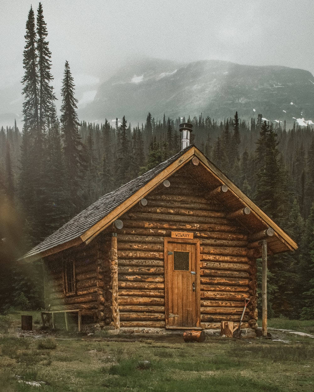brown wooden cabin near trees during day