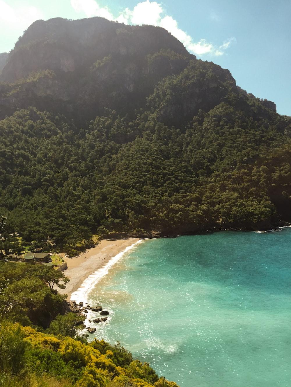 beach beside mountain