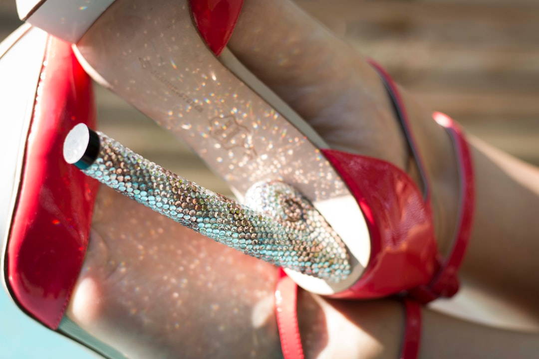 Red platform pointy toe high heels. Designed by Joanne Stoker