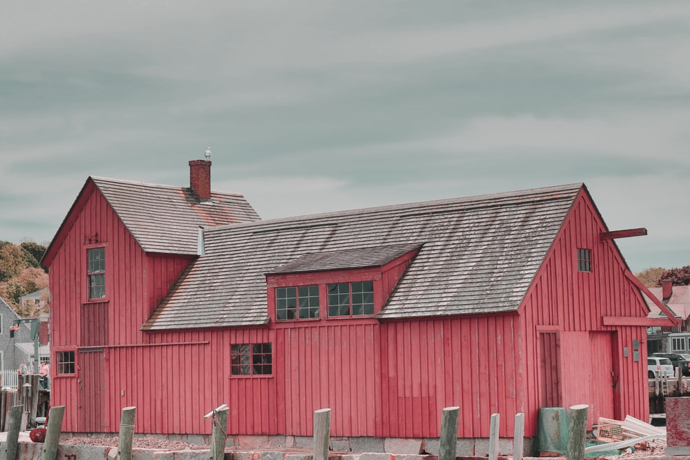 red wooden shed