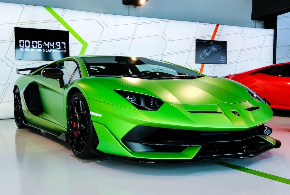 green Lamborghini coupe