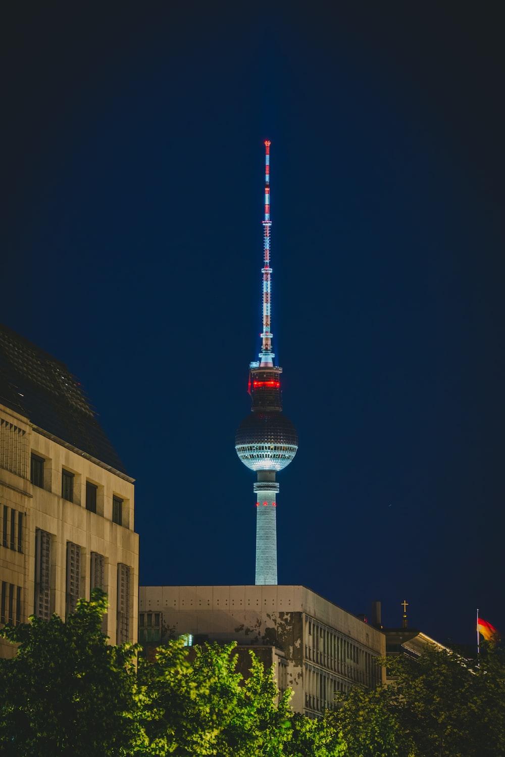 gray tower at night