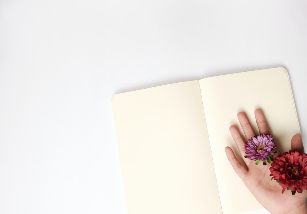 person holding flowers on open book page