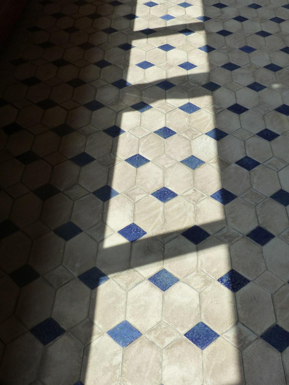white and blue tiled floor