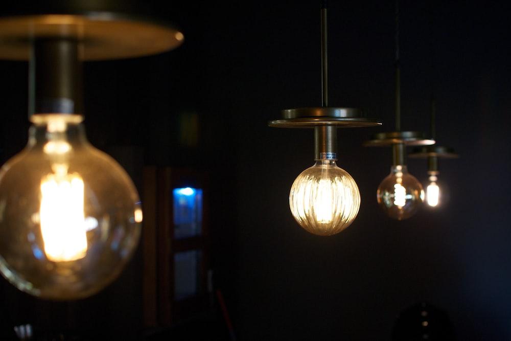 turned-on Incandescent bulbs inside a dark room