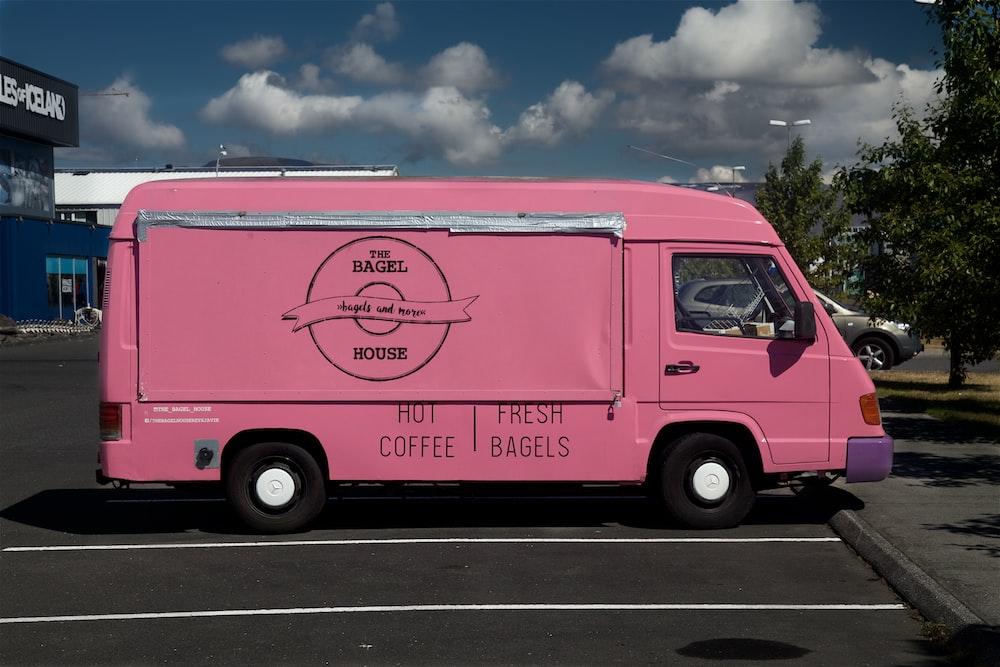 pink van on focus photography