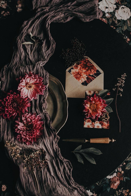 floral envelope on black textile