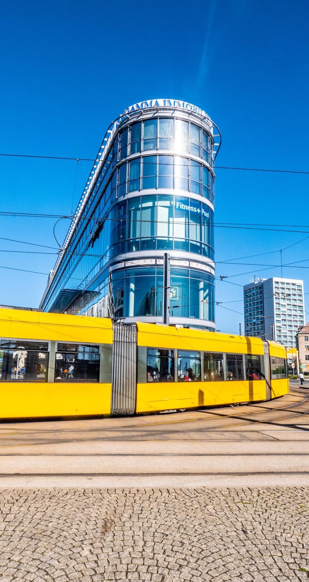 yellow and black train at daytime