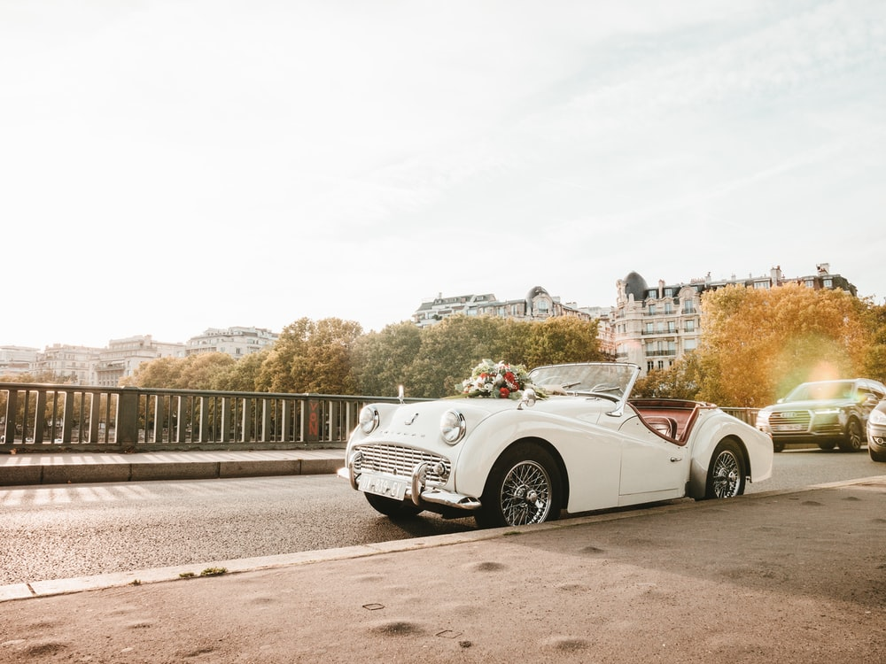 white vintage convertible car
