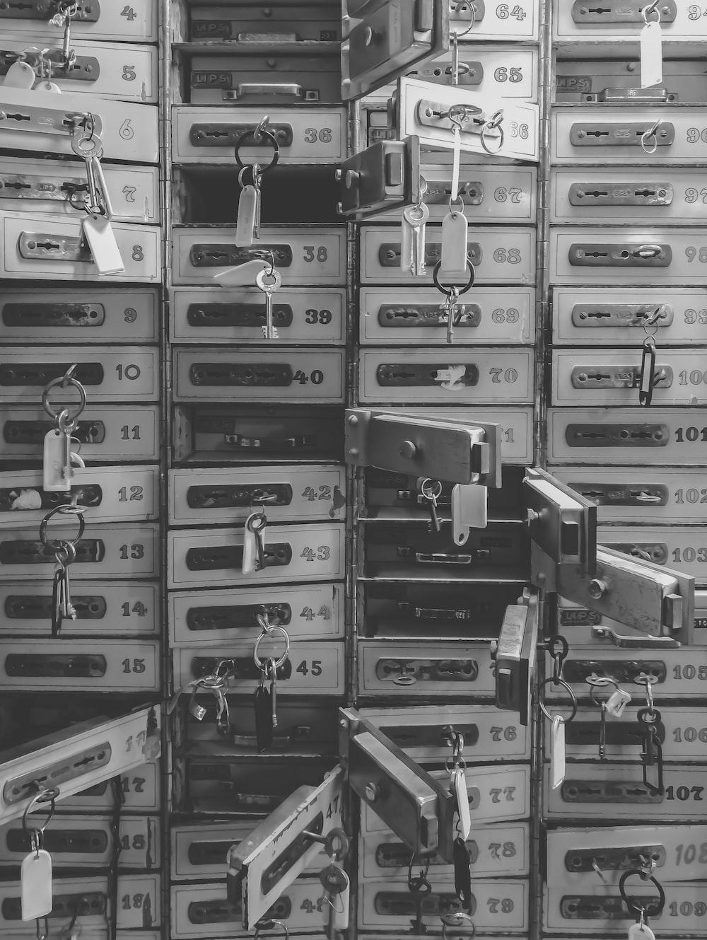 grayscale photography of door lockers
