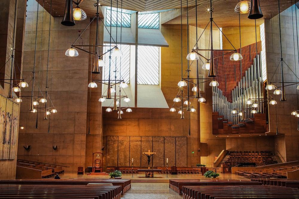 brown concrete church interior