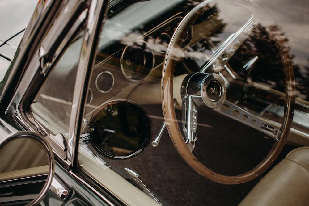 brown and gray vintage car steering wheel