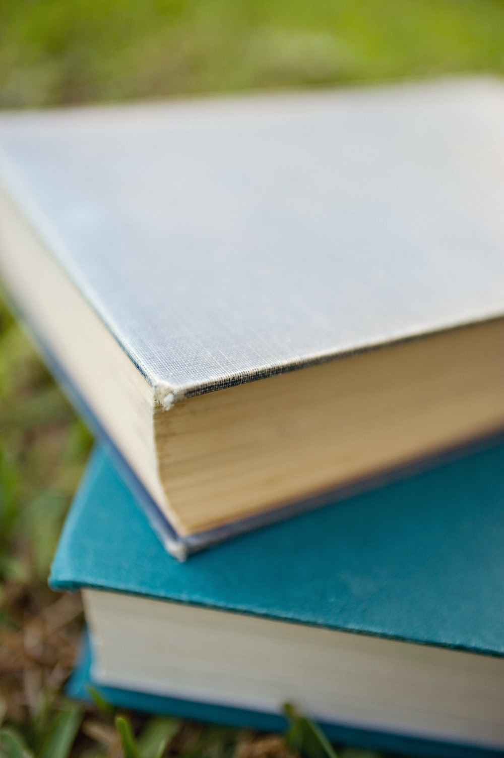 two titled books in grass