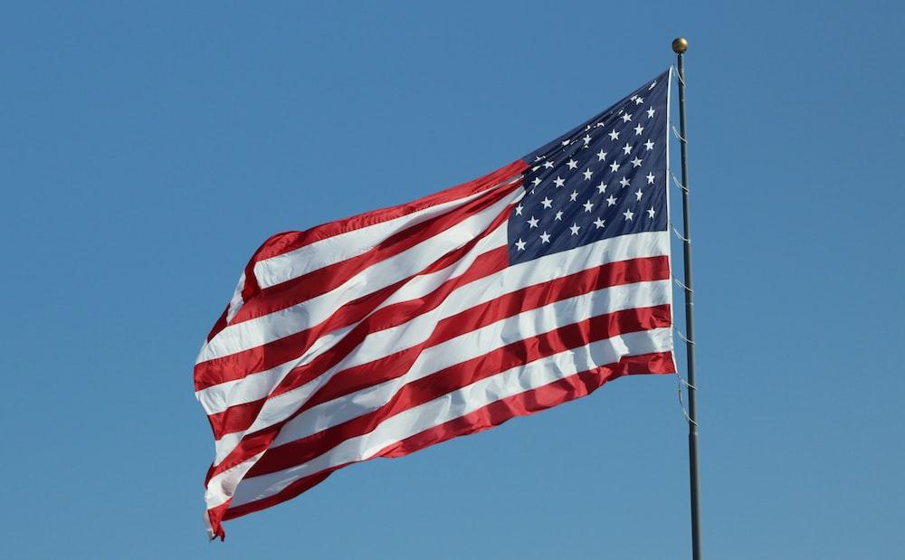 USA flag under clear blue sky