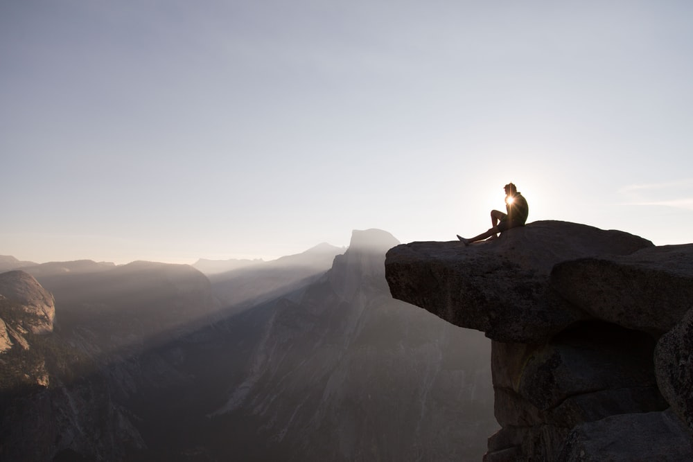 person on rock
