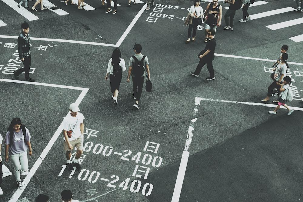 people crossing pedestrian
