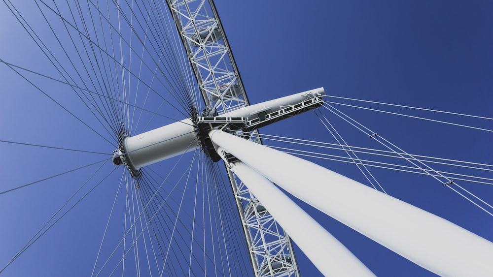 white Ferris wheel under clear blue sky