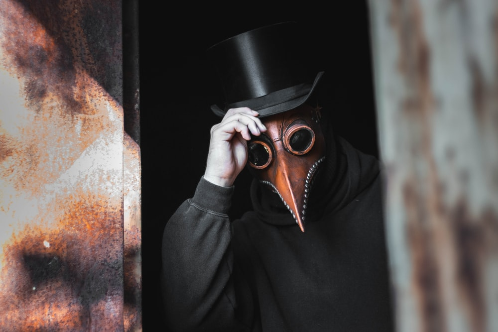 person wearing top hat and animal mask touching his hat