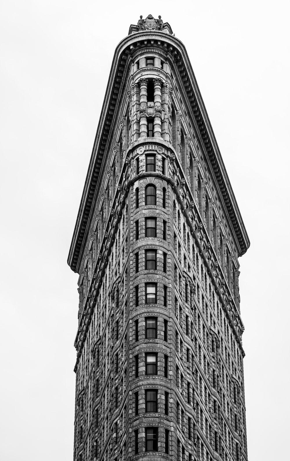 Flatiron Building under white sky