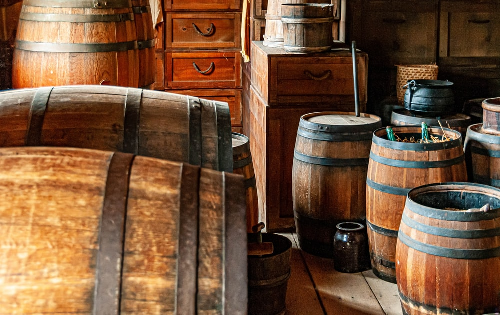 brown wooden barrels