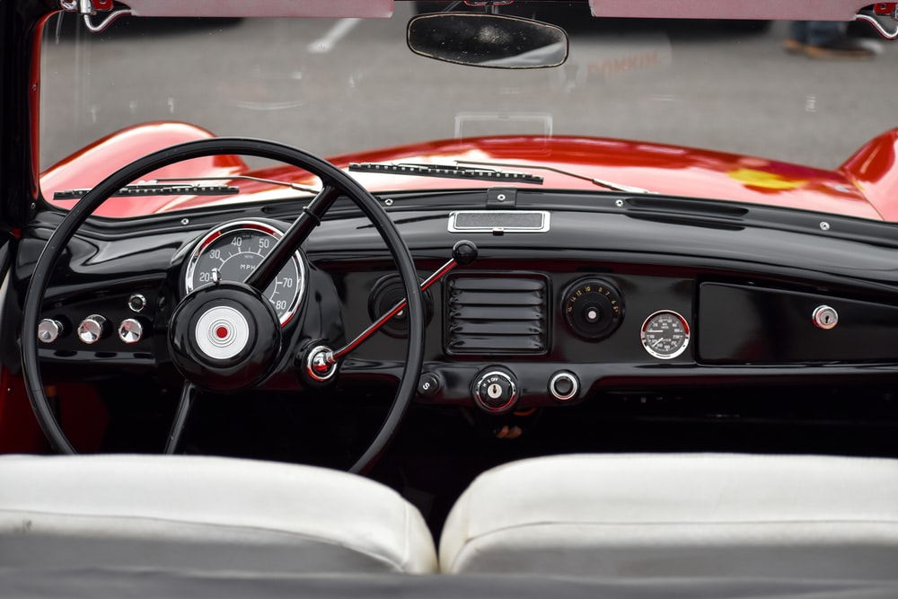 black and red vehicle interior