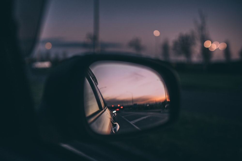 vehicle side mirror during night time