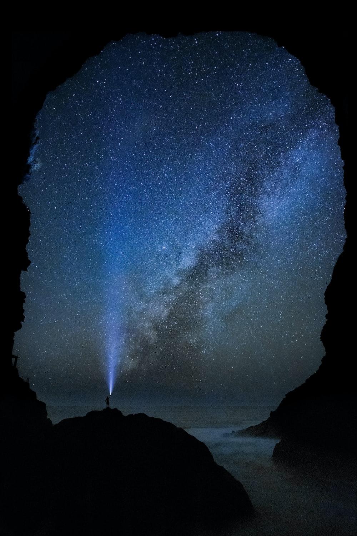 blue light under starry sky