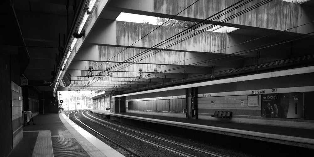 greyscale photography of train