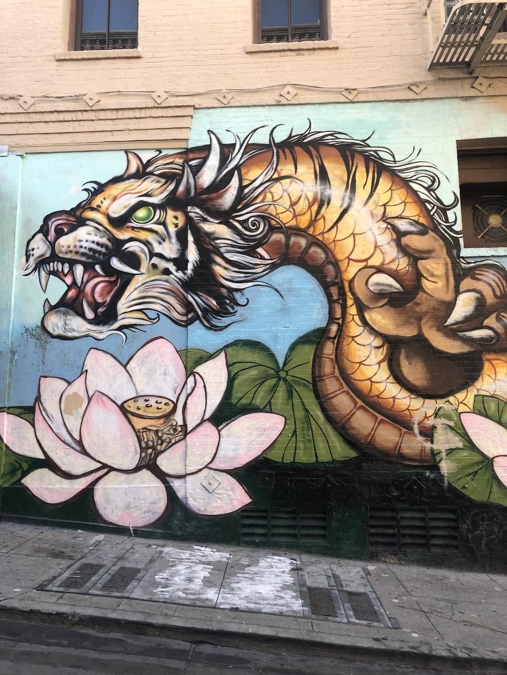 multicolored dragon graffiti art on concrete wall