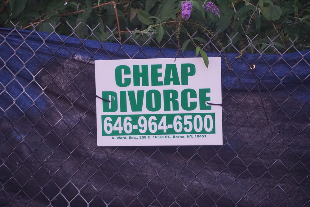 white Cheap Divorse signage