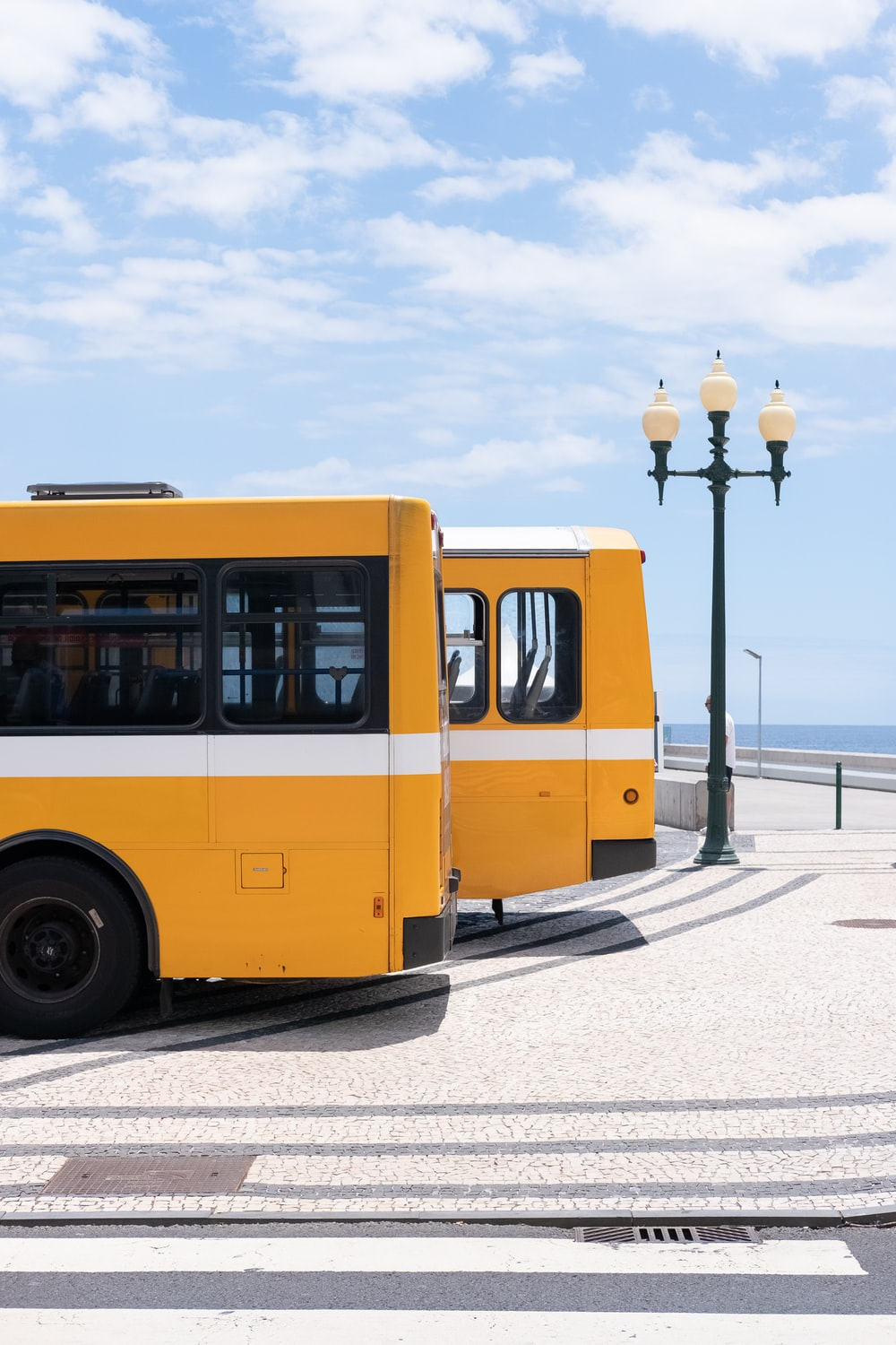 two yellow bus at daytime