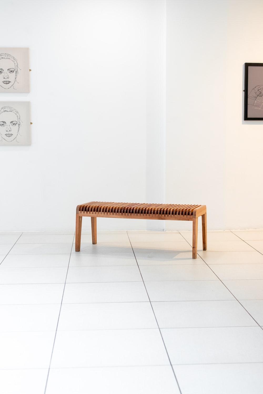 rectangular brown wooden stool