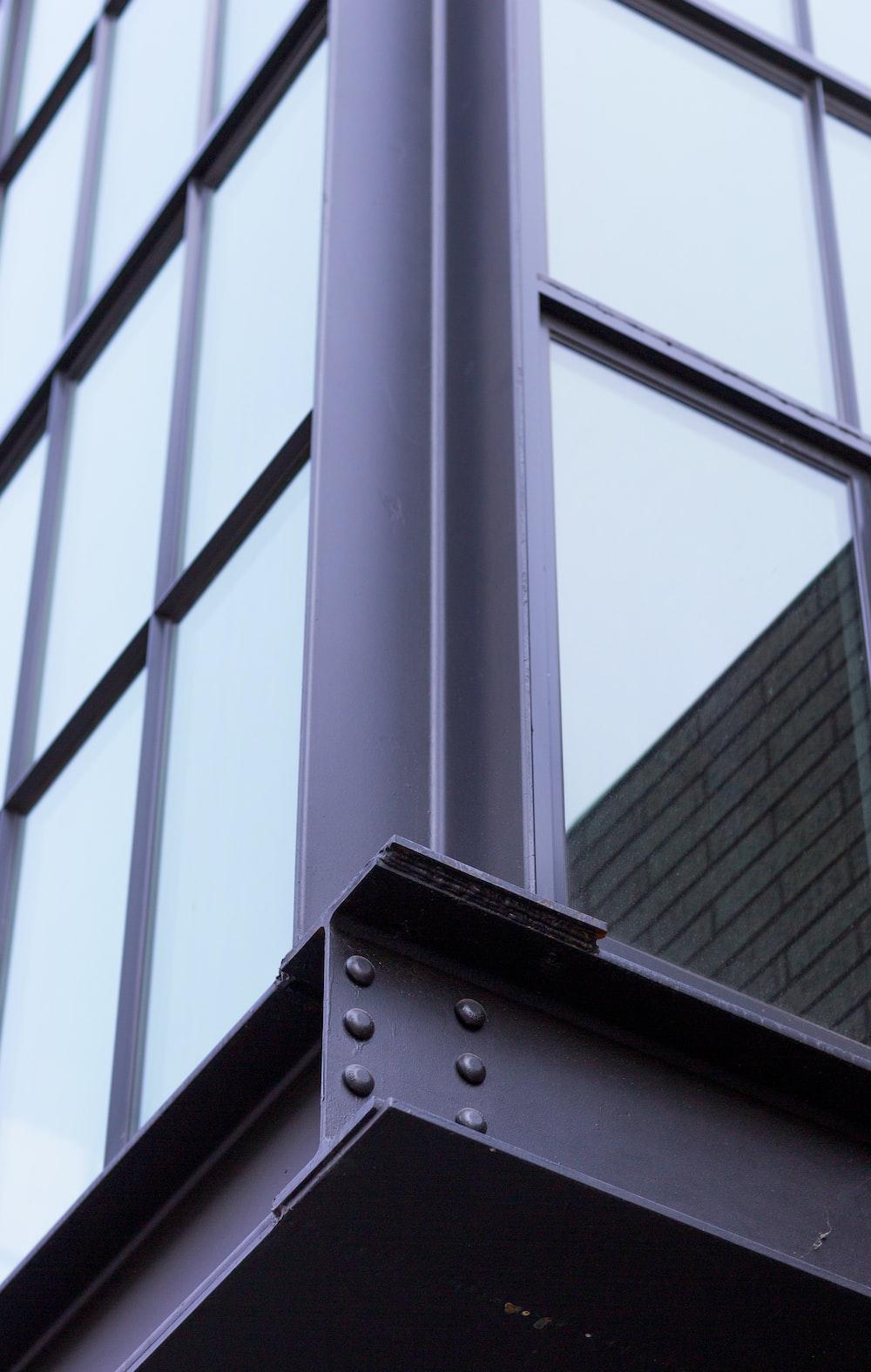 gray metal framed clear glass window