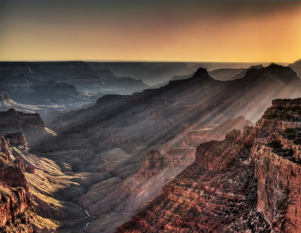 view of grand canyon during golde hour