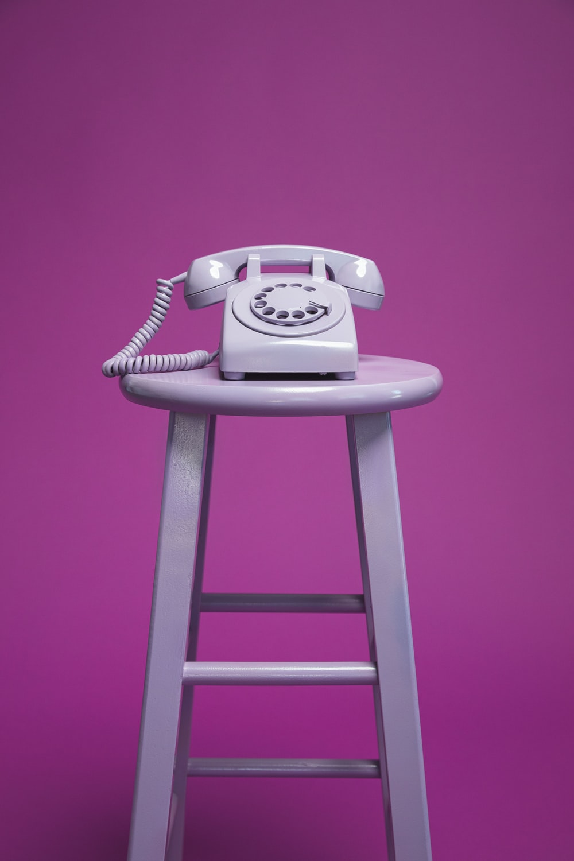 purple rotary telephone