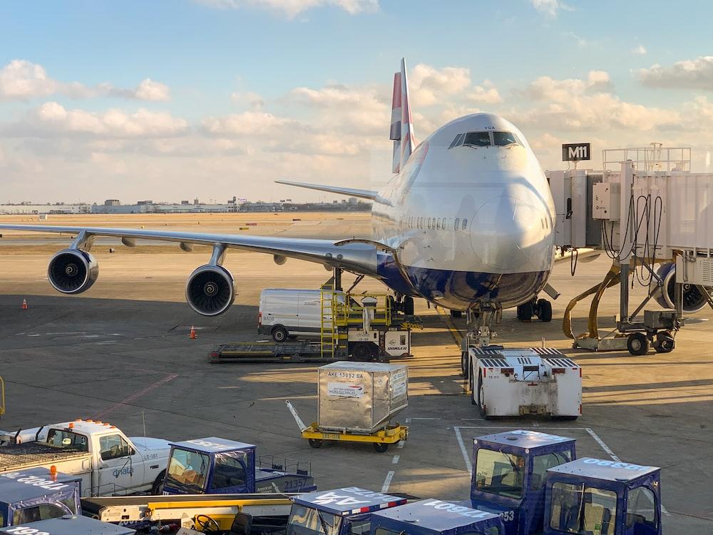 white airliner on tarmack