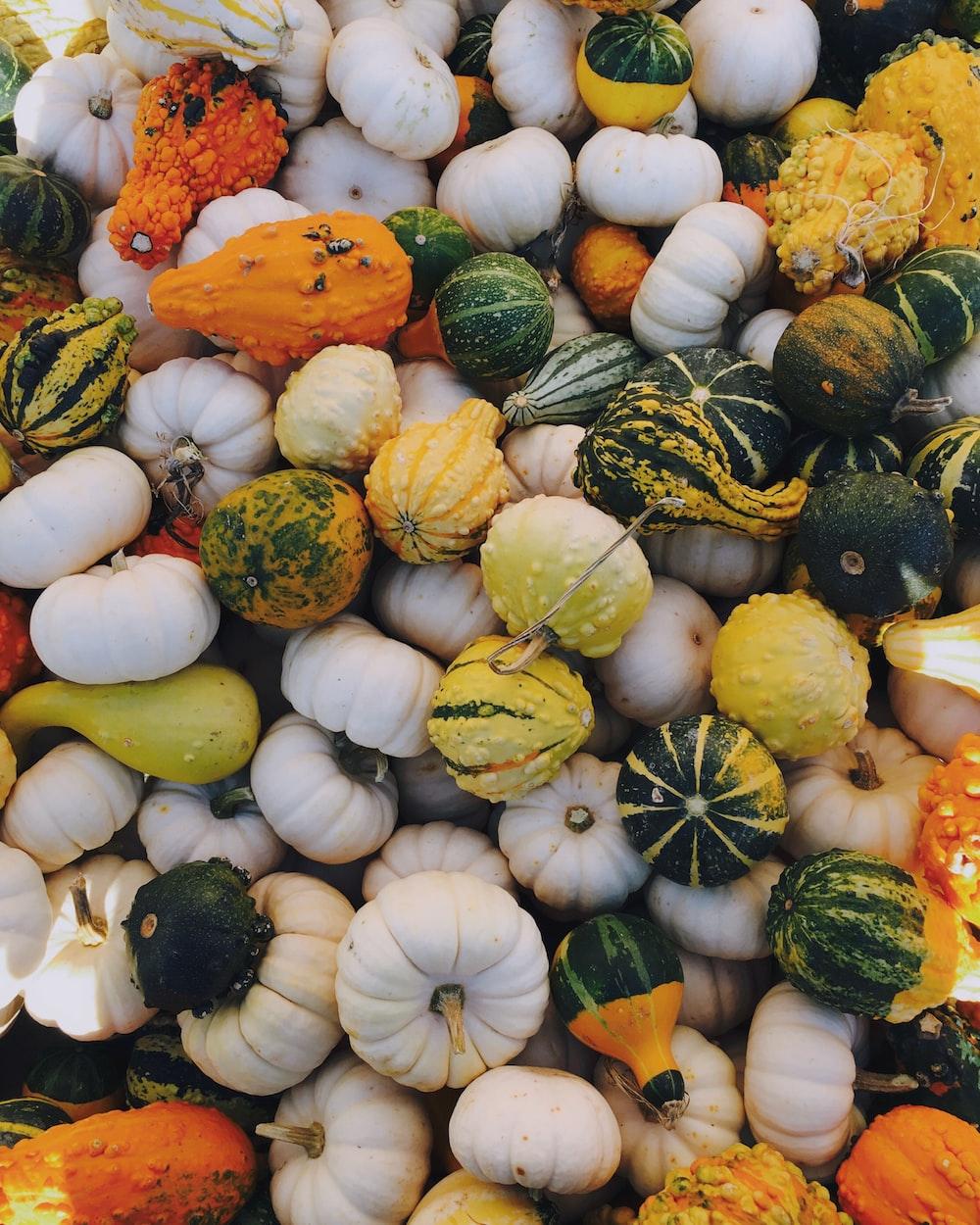 green, white, and orange squash