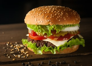 meat and cheese burger surrounded by sesame seeds